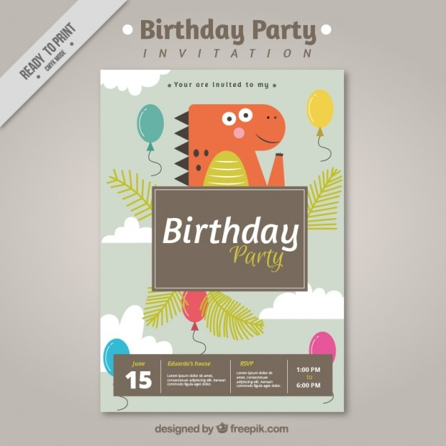 Birthday party invitation with dinosaur Vector  Free Download