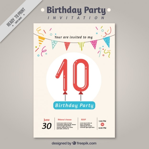 Birthday party invitation with garland Vector  Free Download