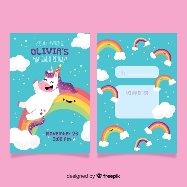 Birthday party invitation with a unicorn Free Vector