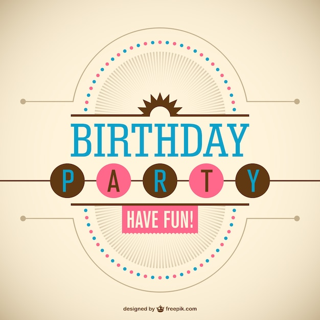 Birthday party invitation Vector Free Download