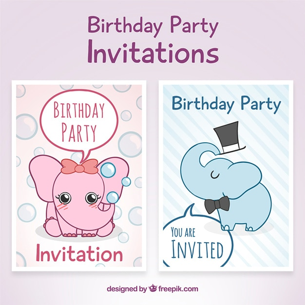Birthday party invitations with elephants Vector  Free Download