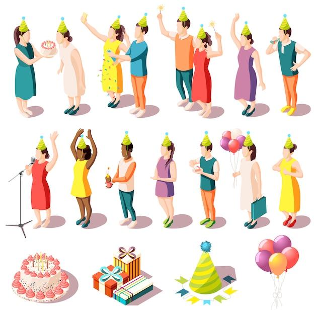 День рождения изометрические иконки набор людей в в праздничных костюмах и праздничных принадлежностей изолированных иллюстрация Бесплатные векторы