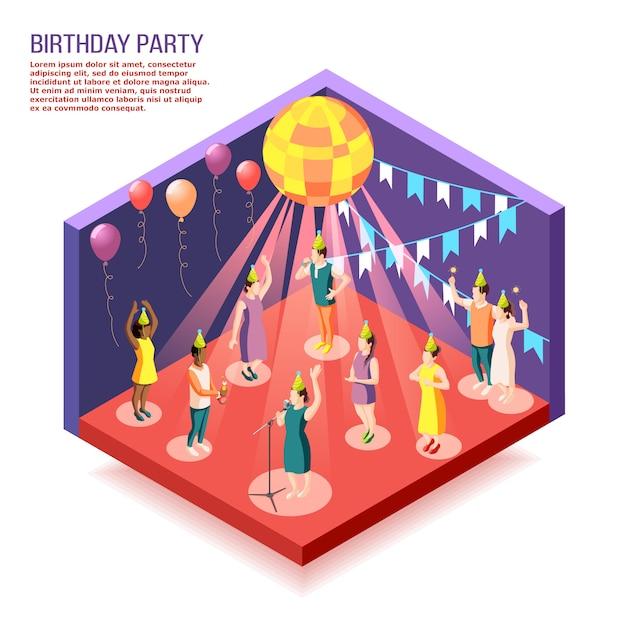День рождения изометрии с людьми, собравшимися в украшенном зале, чтобы отпраздновать праздник Бесплатные векторы