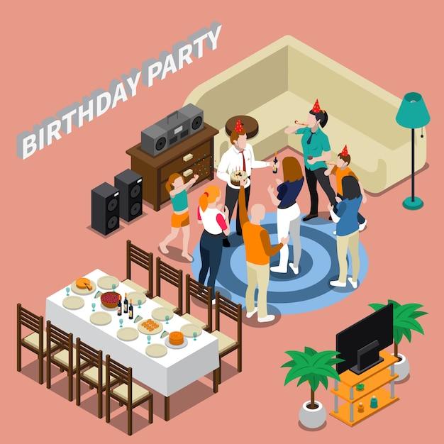 誕生日パーティーのアイソメ図 無料ベクター