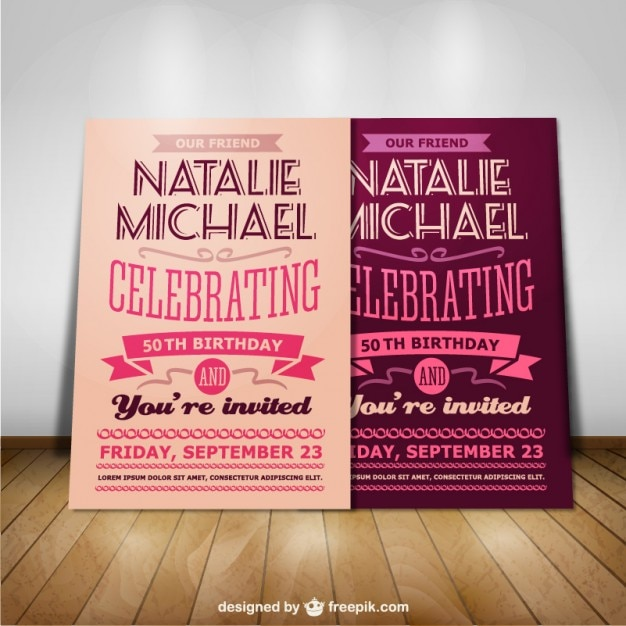 Birthday party mock-up design Free Vector