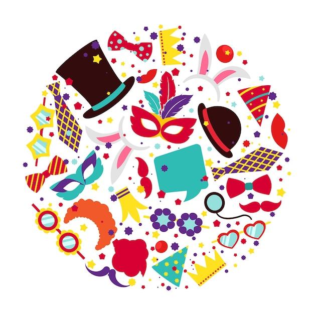 サークル状にセットされた誕生日パーティーのプリクラ小道具。サインまたはシンボルの帽子マスクとバニーの耳、アイコン抽象カラフル、ベクトルイラスト 無料ベクター
