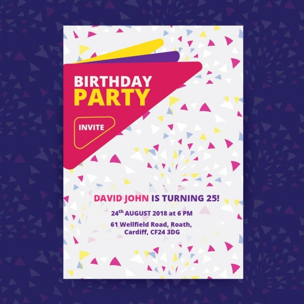 birthday party poster vector free download