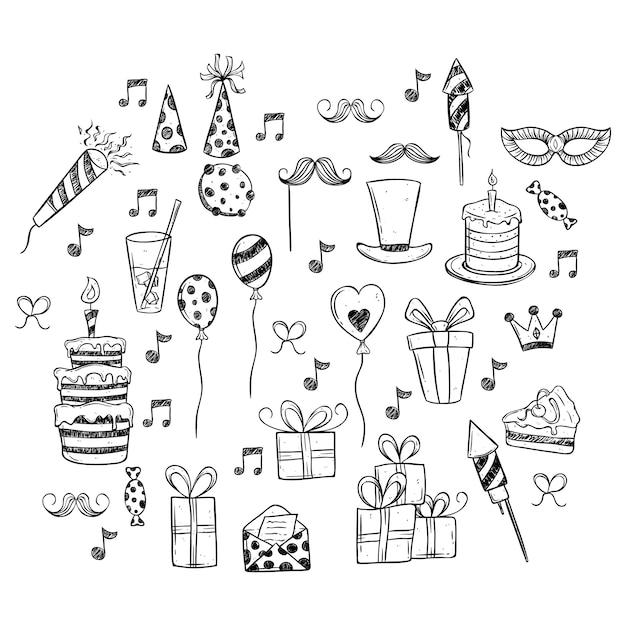Birthday party set icons Premium Vector