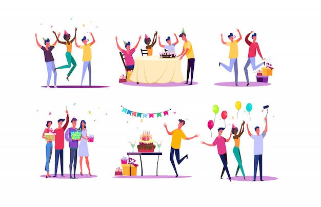 Празднование дня рождения Бесплатные векторы