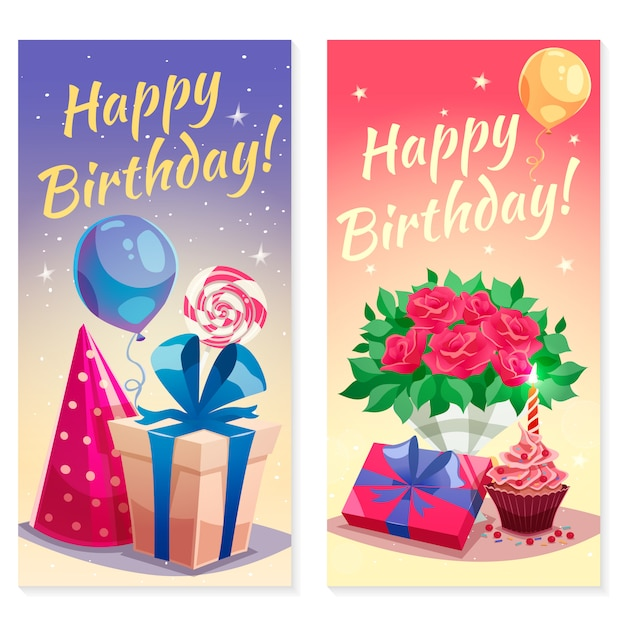 Birthday party vertical banners Free Vector