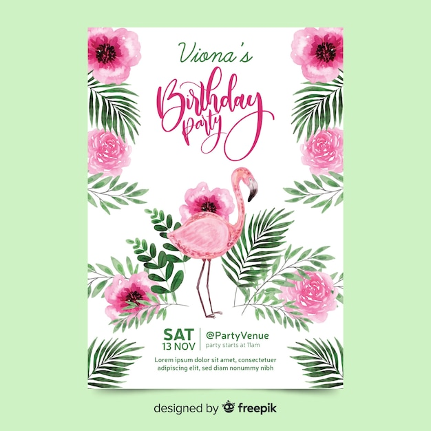 Birthday party with lettering Free Vector