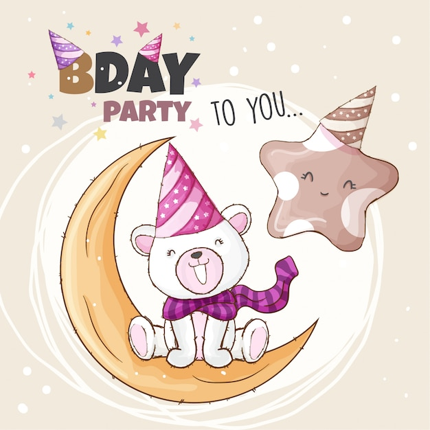 Birthday party to you, illustration of polar bear and star Premium Vector