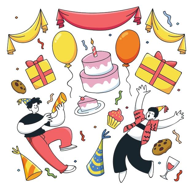 Compleanno persone e molti elementi Vettore gratuito