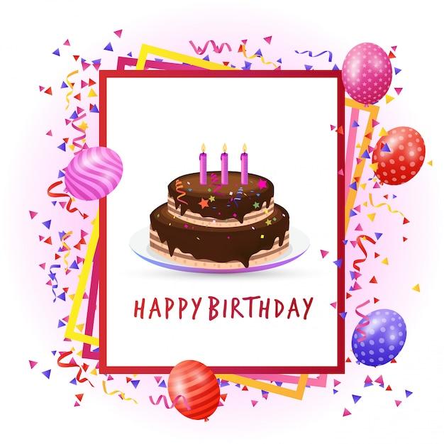 Birthday perty card with unique design vector  Free Vector