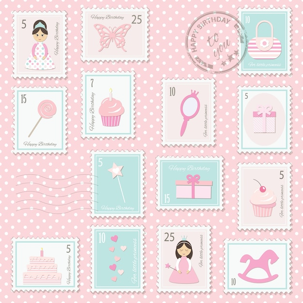 Birthday postage stamps set for girls. Premium Vector