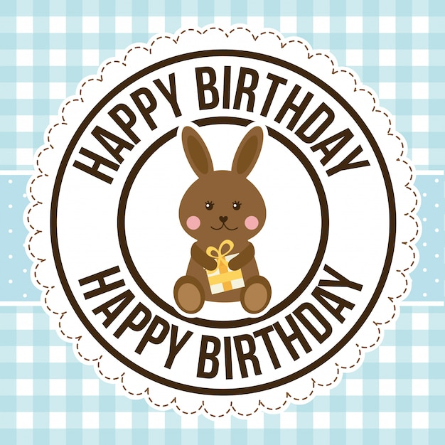 Birthday rabbit over pattern, happy birthday greeting card Free Vector