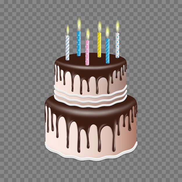 Birthday realistic tiered cake with chocolate glaze with candle,3d style Premium Vector