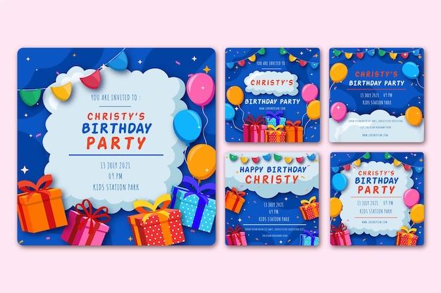 Birthday social media posts Premium Vector