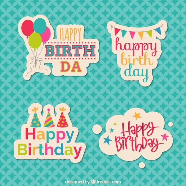 Birthday Stickers Free Vector
