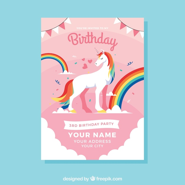 Birthday template with a unicorn and rainbow vector free download birthday template with a unicorn and rainbow free vector stopboris Image collections