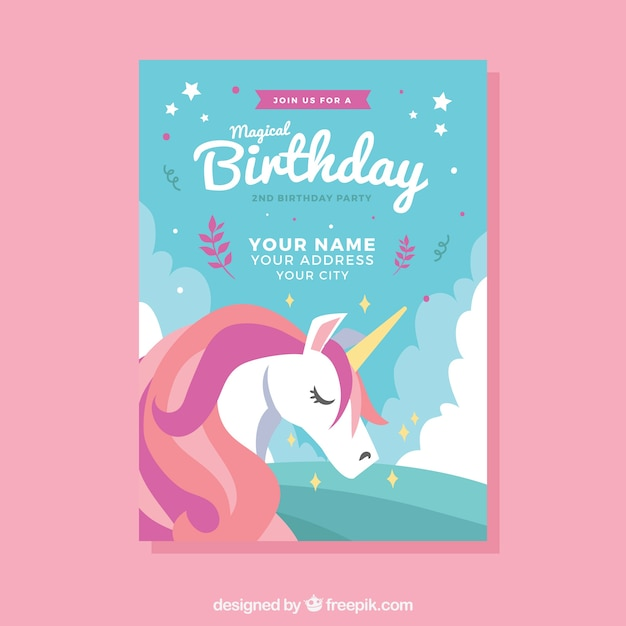 Birthday template with a cute unicorn Free Vector