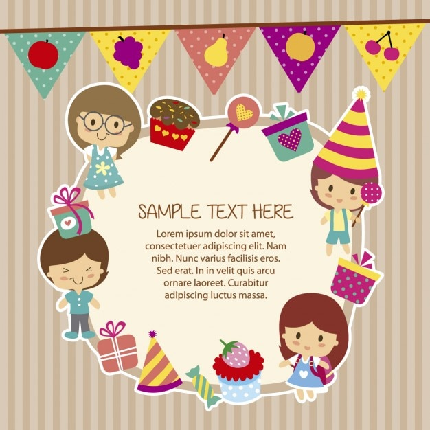 Birthday Template With Funny Children Vector