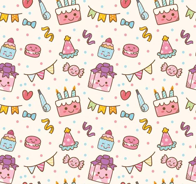 Birthday themed seamless background Premium Vector