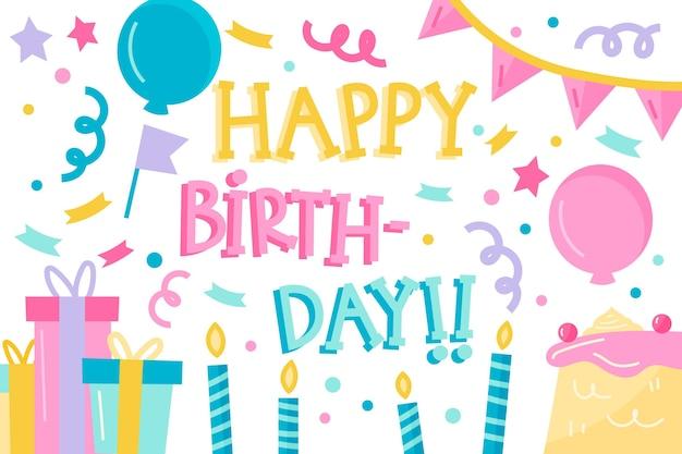 Carta da parati di compleanno Vettore gratuito