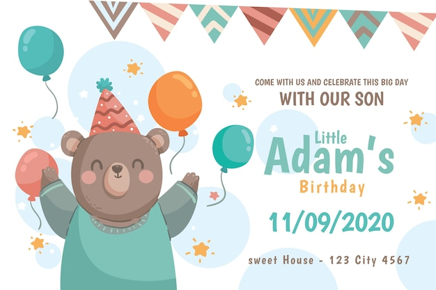 Birthday wish instagram post with bear and balloons Free Vector