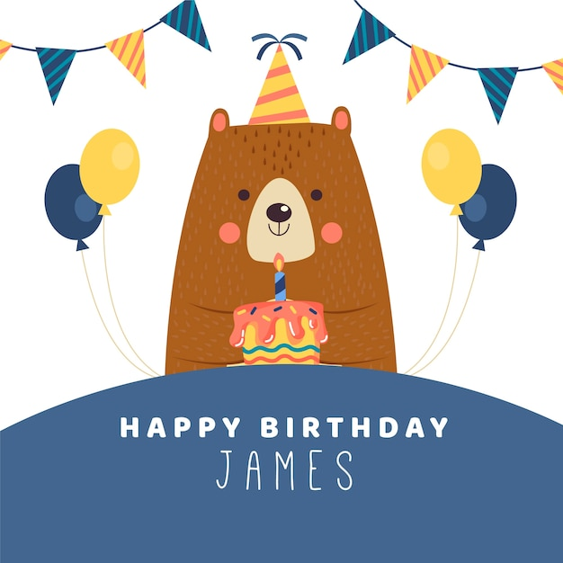 Birthday wish instagram post with bear Free Vector