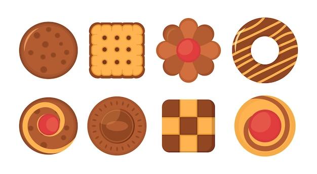 Набор иконок печенье хлеб. большой набор различных красочных печенья. набор различных шоколадных и бисквитных печений, имбирных пряников и вафель, изолированных на белом фоне. Premium векторы