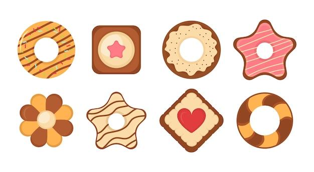 Набор иконок печенье хлеб. большой набор различных красочных печенья. набор различных шоколадных и бисквитных печений, имбирных пряников и вафель, изолированных на белом фоне. . Premium векторы
