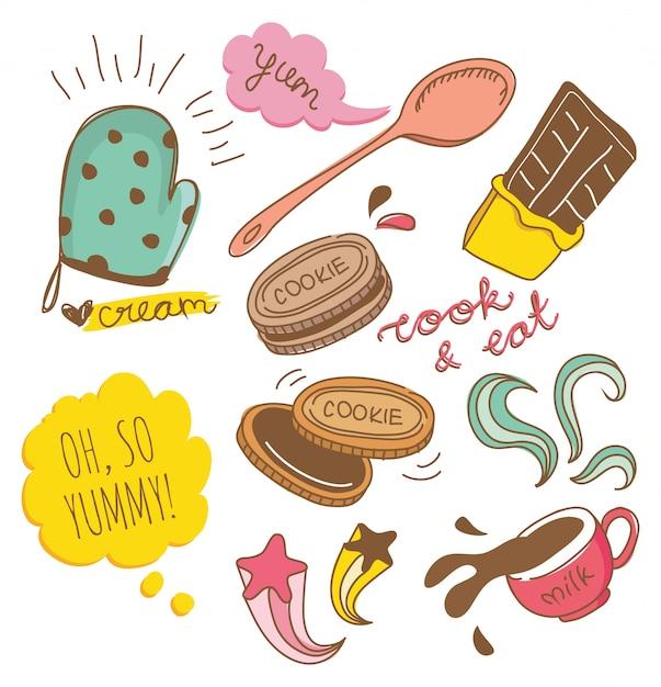 Biscuit and chocolate doodle Premium Vector
