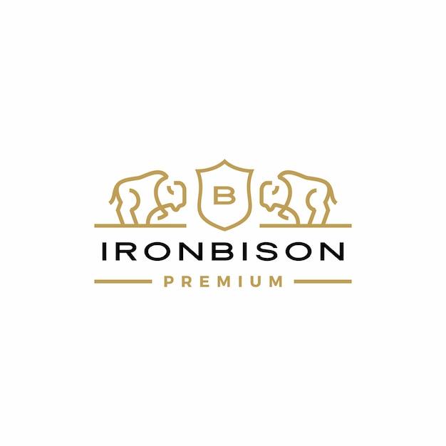 Bison coat of arms logo Premium Vector