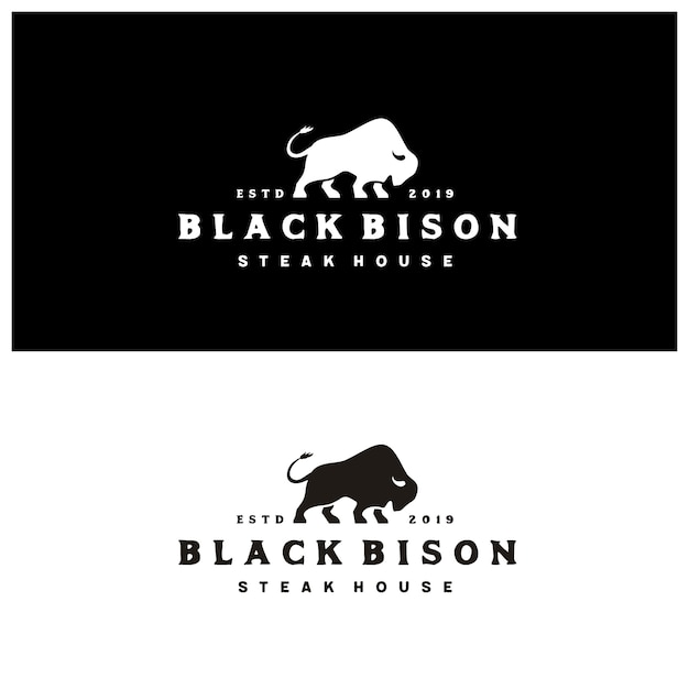 Bison silhouette with vintage typography steak house logo Premium Vector