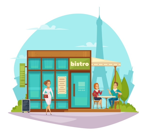 Bistro cafe terrace flat composition Free Vector