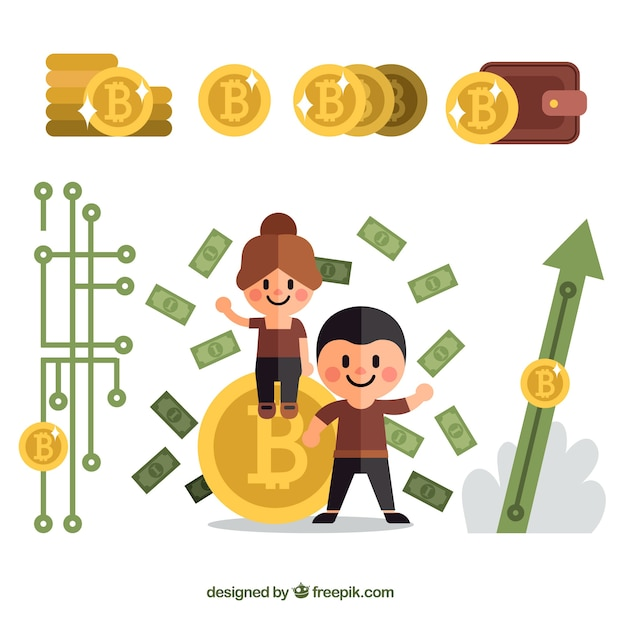 Bitcoin background with persons Free Vector