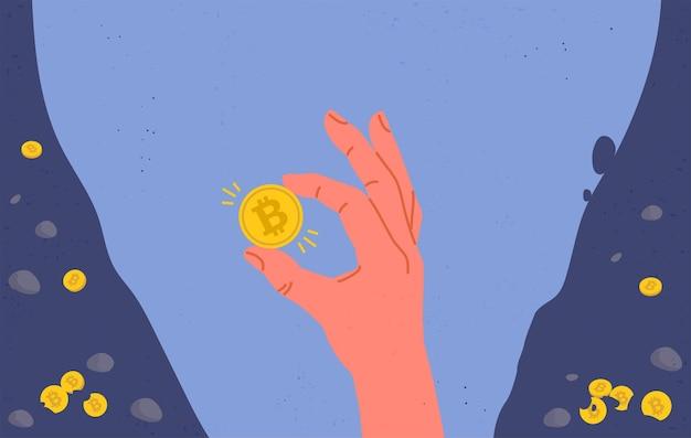 손에 Bitcoin 동전. 평면 그림. 프리미엄 벡터