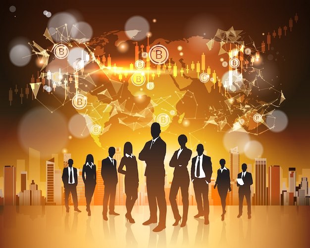 Bitcoin concept silhouette group of business people over world map crupto currency digital web money Premium Vector