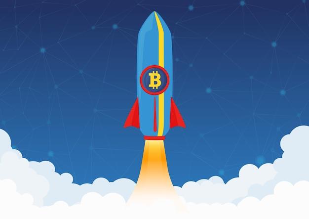 Концепция криптовалюты bitcoin. ракета летит на луну со значком биткойн. рынок криптовалют растет. Premium векторы