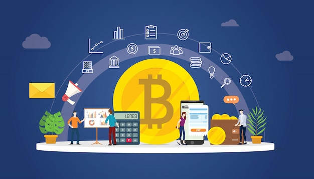Bitcoin cryptocurrency digital money Premium Vector