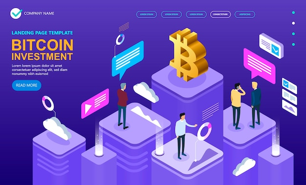 Bitcoin cryptocurrency isometric concept, isometric vector concept banner, marketing and finance vec