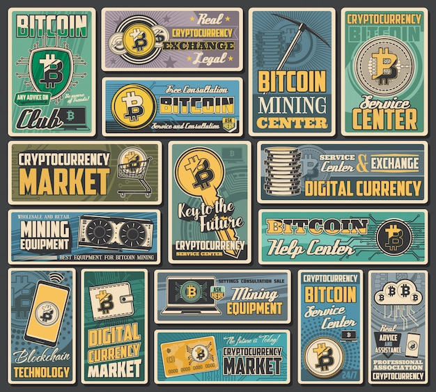 Bitcoin cryptocurrency retro banners of  digital money exchange, blockchain transaction and crypto currency mining. network financial technologies, digital wallet, laptop computer, mobile phone Premium Vector