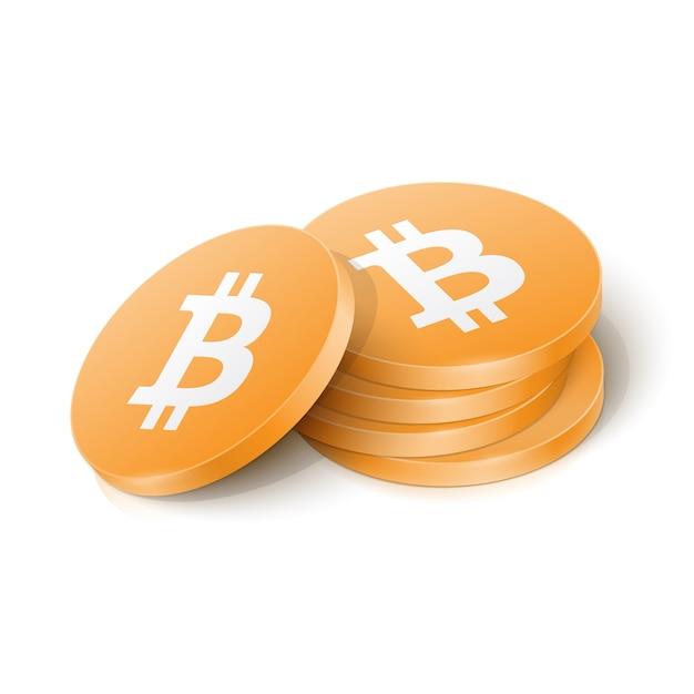 Биткойн-криптовалютные токены Premium векторы