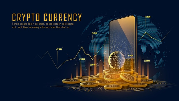Bitcoin cryptocurrency with pile of coins come out from smartphone Premium Vector