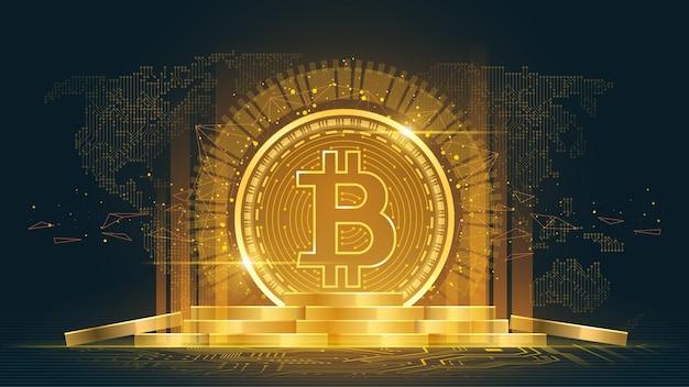 Криптовалюта биткойн с кучей монет Premium векторы