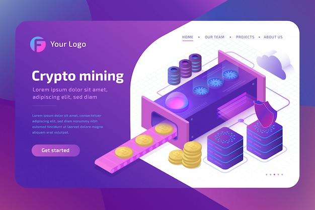Bitcoin cryptomining farm concept. blockchain concept of mining virtual money.  isometric Premium Vector