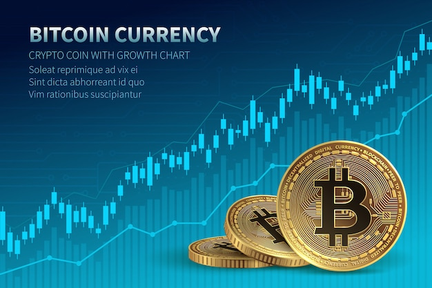 Bitcoin currency. crypto coin with growth chart. international stock exchange. Premium Vector