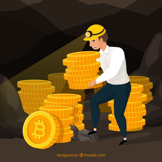 Bitcoin design with miner Free Vector