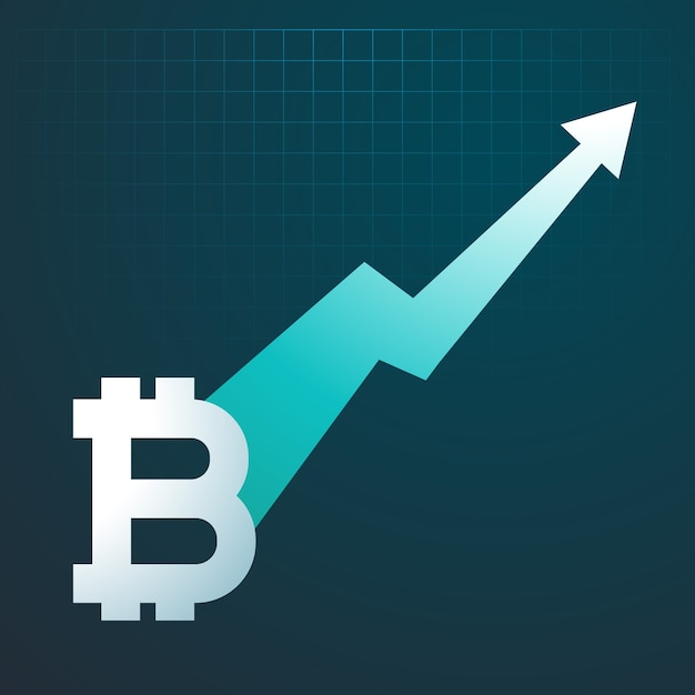 Bitcoin Design With Rising Arrow Free Vector